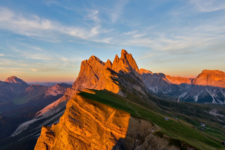 Evening comes at the Seceda