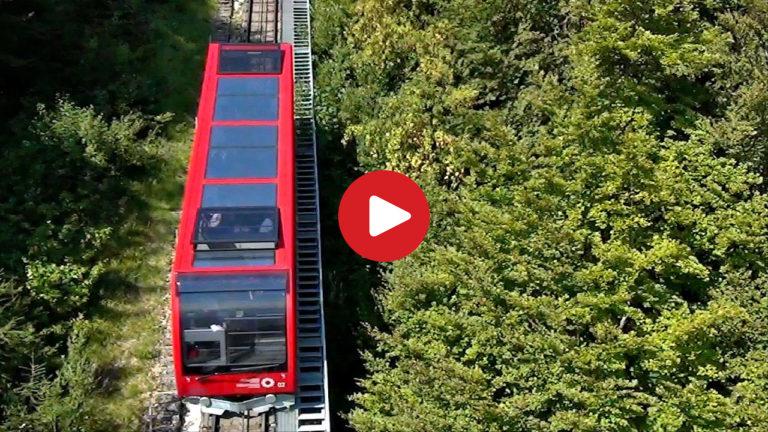 Die Mendelbahn bei Kaltern aus der Luft