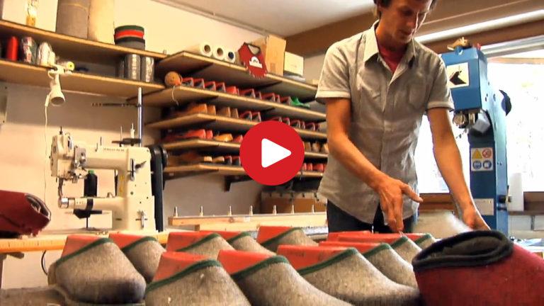 Pantofole artigianali in feltro a Rio di Pusteria