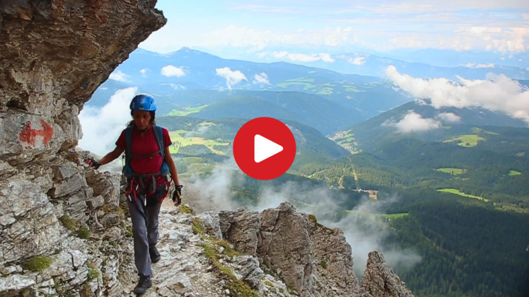 Klettersteig Rosengarten : Video: klettersteig santnerpass