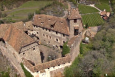 Aerial view of Runkelstein Castle near Bolzano