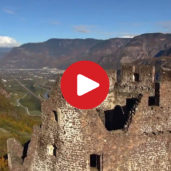 Aerial movie of the ruin of Castelchiaro