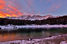 Sunrise on the Carezza Lake